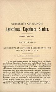 Cover of: Additional insecticide experiments for the San Jose scale