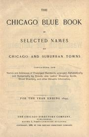 The Chicago blue book of selected names of Chicago and suburban towns.