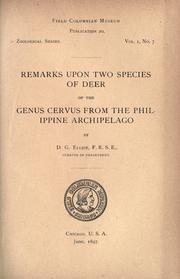 Cover of: Remarks upon two species of deer of the genus Cervus from the Philippine Archipelago