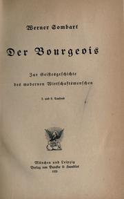 Cover of: Der Bourgeois