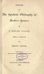 Cover of: Epitome of the Synthetic philosophy of Herbert Spencer