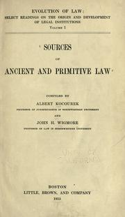 Sources of ancient and primitive law by Kocourek, Albert