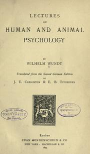 Lectures on human and animal psychology by Wilhelm Max Wundt