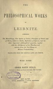 Cover of: The philosophical works of Leibnitz ..