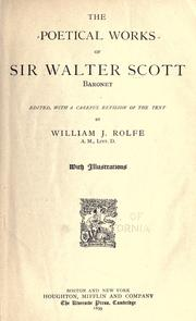 The poetical works of Sir Walter Scott, Baronet by Sir Walter Scott