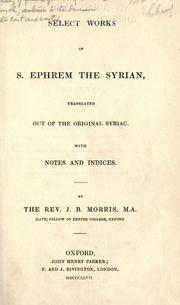 Cover of: Selected works of S. Ephrem the Syrian