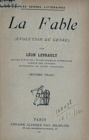 Cover of: La fable, évolution du genre