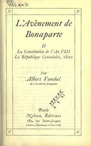 Cover of: L' avènement de Bonaparte
