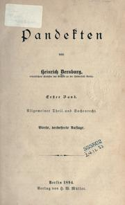 Cover of: Pandekten