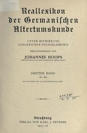 Cover of: Reallexikon der germanischen Altertumskunde | Johannes Hoops