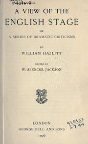 Cover of: A view of the English stage