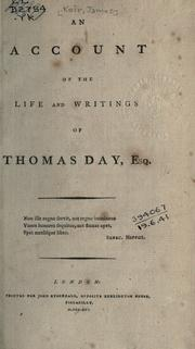Cover of: An account of the life and writings of Thomas Day