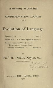 Cover of: Evolution of language ..