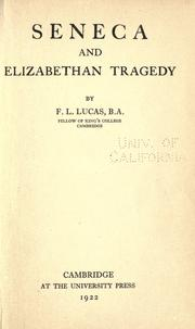 Cover of: Seneca and Elizabethan tragedy