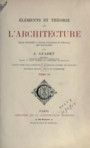 Cover of: Éléments et théorie de l'architecture by Julien Guadet