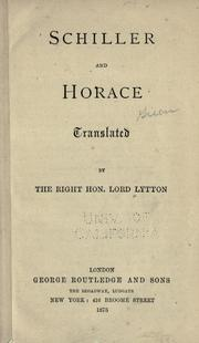 Cover of: Schiller And Horace by Horace