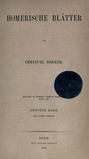 Cover of: Homerische Blätter
