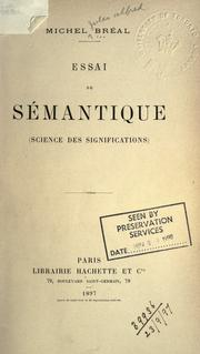 Cover of: Essai de sémantique: science des significations.