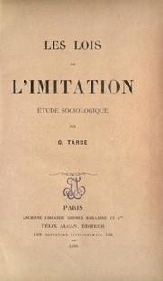 Cover of: Les lois de L'imitation