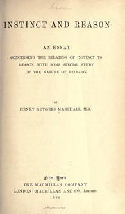Cover of: Instinct and reason | Marshall, Henry Rutgers