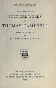 Cover of: complete poetical works. | Thomas Campbell