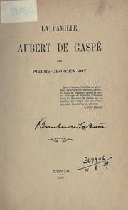 Cover of: La famille Aubert de Gaspé