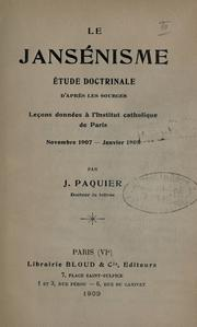 Cover of: Le Jans©Øenisme, ©Øetude doctrinale d'apres les sources