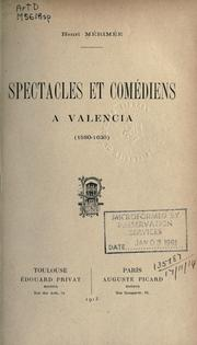 Cover of: Spectacles et comédiens à Valencia (1580-1630)