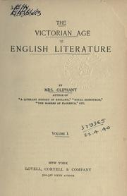 Cover of: The Victorian age of English literature. | Margaret Oliphant