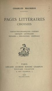 Cover of: Pages littéraires choisies
