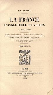 Cover of: La France, l'Angleterre et Naples, de 1803 ©Ła 1806