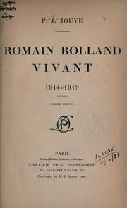 Cover of: Romain Rolland vivant, 1914-1919