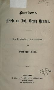 Cover of: Briefe an Joh. Georg Hamann