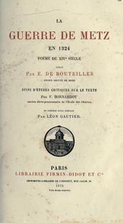 Cover of: La guerre de Metz en 1324 |