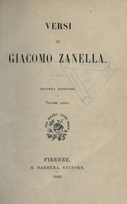 Cover of: Versi di Giacomo Zanella