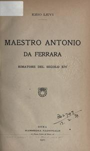 Cover of: Maestro Antonio da Ferrara