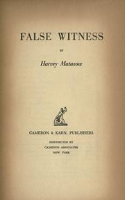 Cover of: False witness | Harvey Matusow