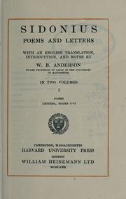Cover of: Poems and letters. by C. Sollius Modestus Apollinaris Sidonius