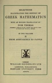 Cover of: Selections illustrating the history of Greek mathematics