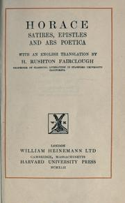 Cover of: Satires, Epistles and Ars poetica | Horace