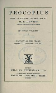 Cover of: Procopius, with an English translation by H.B. Dewing