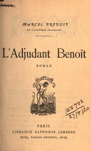 Cover of: L' adjudant Benoit