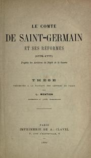 Cover of: Le comte de Saint-Germain et ses réformes, 1775-1777