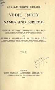 Cover of: Vedic index of names and subjects