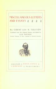 Cover of: The complete works of Count Tolstoy