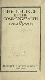 Cover of: The church in the commonwealth