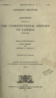Cover of: Documents relating to the constitutional history of Canada, 1759-1791 | Public Archives of Canada.