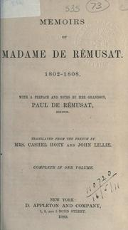 Cover of: Memoirs, 1802-1808 | RГ©musat Madame de