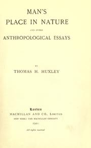 Cover of: Man's place in nature, and other anthropological essays