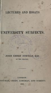 Cover of: Lectures and essays on university subjects